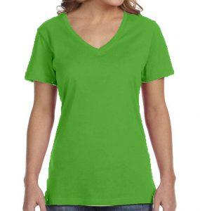 חולצת וי נשים קצרה ירוק תפוח