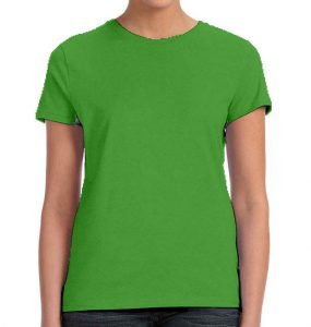 חולצת נשים קצרה צווארון עגול ירוק תפוח