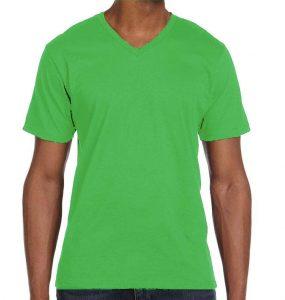 חולצת וי גברים קצרה ירוק תפוח