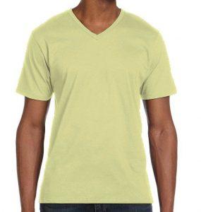 חולצת וי גברים קצרה צהוב בננה