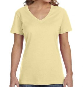 חולצת וי נשים קצרה צהוב בננה