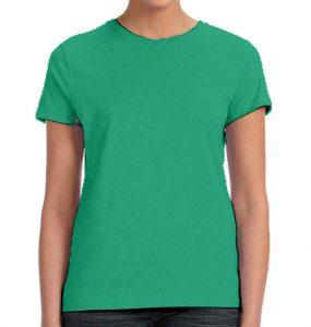 חולצת נשים קצרה צווארון עגול ירוק בנטון