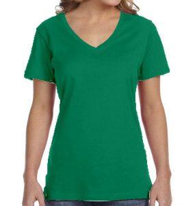 חולצת וי נשים קצרה ירוק בנטון