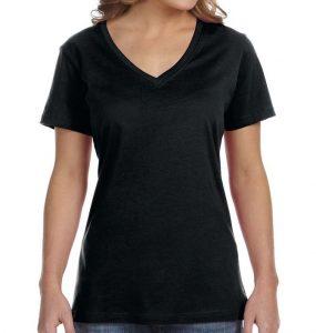 חולצת וי נשים קצרה שחור