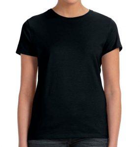 חולצת נשים קצרה צווארון עגול שחור