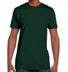 חולצת גברים צווארון עגול ירוק בקבוק