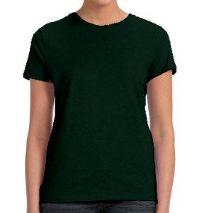 חולצת נשים קצרה צווארון עגול ירוק בקבוק