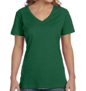 חולצת וי נשים קצרה ירוק בקבוק