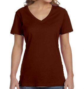 חולצת וי נשים קצרה חום