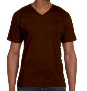 חולצת וי גברים קצרה חום