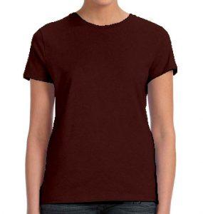 חולצת נשים קצרה צווארון עגול חום
