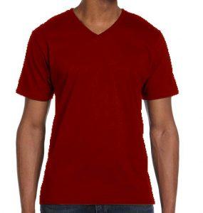 חולצת וי גברים קצרה בורדו