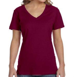 חולצת וי נשים קצרה סגול חציל