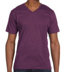 חולצת וי גברים קצרה סגול חציל