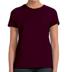 חולצת נשים קצרה צווארון עגול סגול חציל