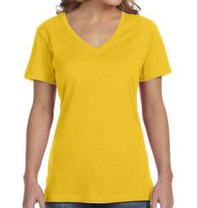 חולצת וי נשים קצרה צהוב לימון