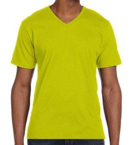 חולצת וי גברים קצרה צהוב לימון