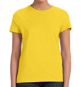 חולצת נשים קצרה צווארון עגול צהוב לימון