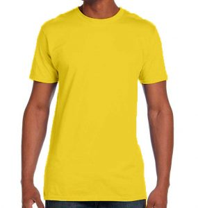 חולצת גברים צווארון עגול צהוב לימון
