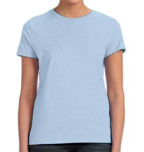 חולצת נשים קצרה צווארון עגול תכלת