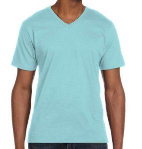 חולצת וי גברים קצרה תכלת