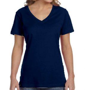 חולצת וי נשים קצרה כחול נייבי