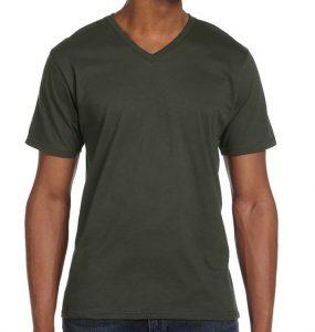 חולצת וי גברים קצרה ירוק זית
