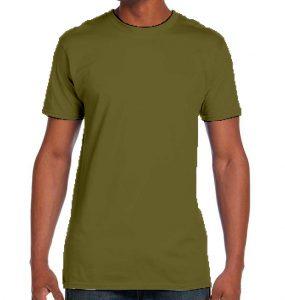 חולצת גברים צווארון עגול ירוק זית