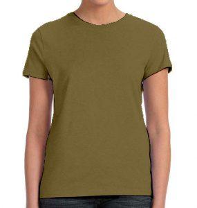 חולצת נשים קצרה צווארון עגול ירוק זית