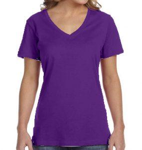 חולצת וי נשים קצרה סגול