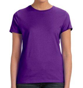 חולצת נשים קצרה צווארון עגול סגול