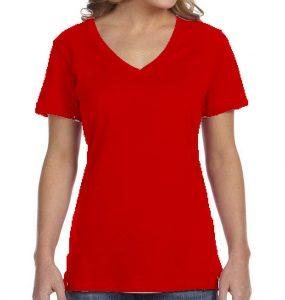 חולצת וי נשים קצרה אדום