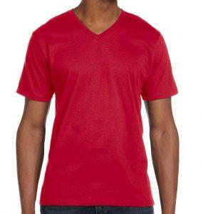 חולצת וי גברים קצרה אדום