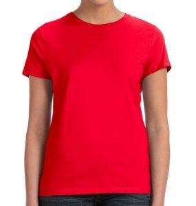 חולצת נשים קצרה צווארון עגול אדום