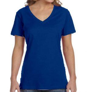 חולצת וי נשים קצרה כחול רואייל