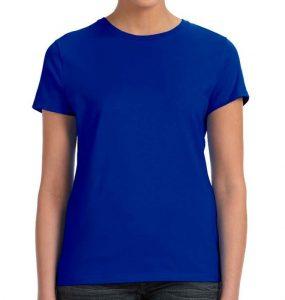 חולצת נשים קצרה צווארון עגול כחול רויאל
