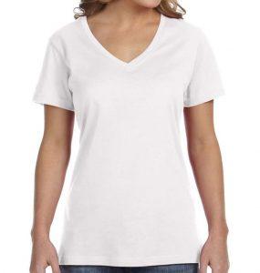חולצת וי נשים קצרה לבן
