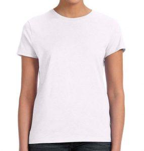 חולצת נשים קצרה צווארון עגול לבן